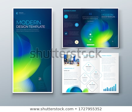 blue wavy corporate business trifold brochure design vector temp Stock photo © SArts