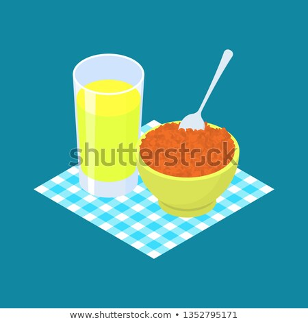 Red lentils Porridge and fruit juice. Breakfast Healthy food. Ve Stock photo © MaryValery