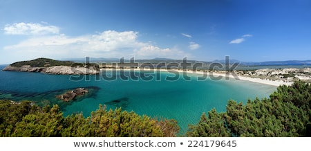 view of voidokilia beach in the peloponnese region of greece from the palaiokastro stock photo © ankarb