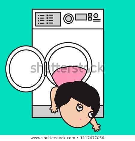 Gyerekek unatkozik mosás gépek nő család Stock fotó © IS2