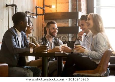 человека говорить женщину кофейня улыбаясь отель Сток-фото © wavebreak_media