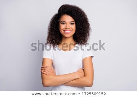 Stock fotó: Közelkép · portré · boldog · vonzó · barna · hajú · nő