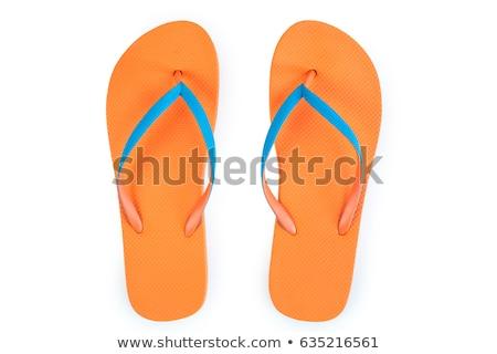 Narancs papucs izolált fehér vágási körvonal Stock fotó © sidewaysdesign