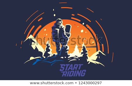 Male snowboarder with snowboard in sun Stock photo © IS2