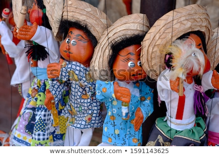 Boneca fantoche mexicano compras azul Foto stock © lunamarina