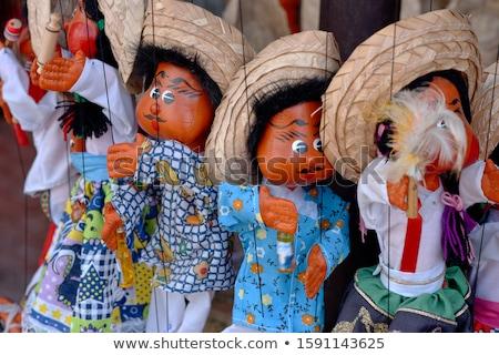 Pop marionet Mexicaanse souvenir winkelen Blauw Stockfoto © lunamarina
