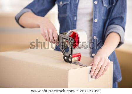Nő mozog üres ház nappali ingatlan Stock fotó © IS2