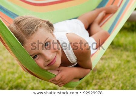 kids garden lying grass stock photo © lenm