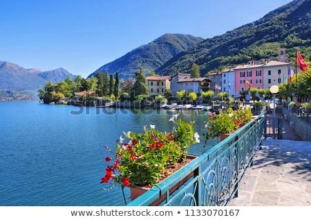 Kicsi falu tó hegy csónak Stock fotó © LianeM