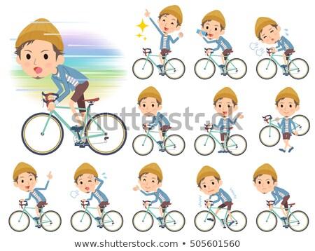 Veste court pants chapeau homme vélo Photo stock © toyotoyo
