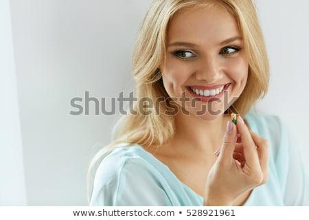 Lány táplálékkiegészítő illusztráció fiatal nő felső testmozgás Stock fotó © lenm