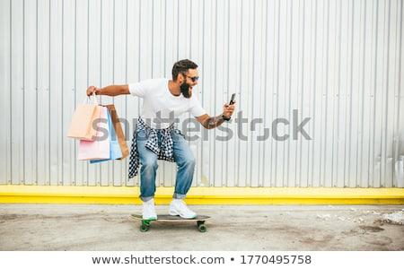 скейтбординга баннер скейтбордист рубашку джинсов Skate Сток-фото © robuart