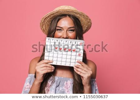 Afbeelding aanbiddelijk brunette vrouw 20s strohoed Stockfoto © deandrobot