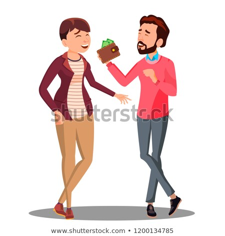 Man And Woman Talking About Family Budget With Money Vector. Isolated Illustration Stock photo © pikepicture