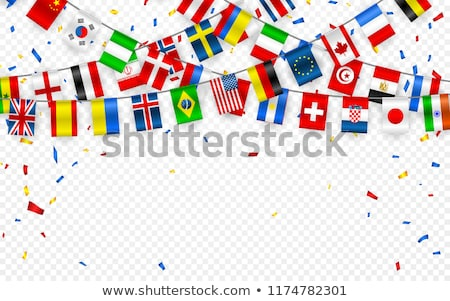 Foto d'archivio: Colorful Flags Garland Of Different Countries Of The Europe And World With Confetti Festive Garland