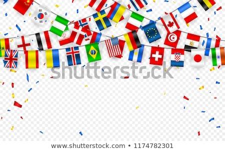 Stockfoto: Kleurrijk · vlaggen · guirlande · verschillend · landen · Europa