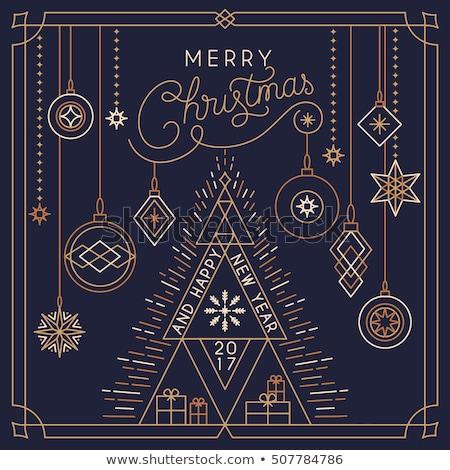 Gyémánt karácsony golyók kék vidám karácsonyi üdvözlet Stock fotó © odina222