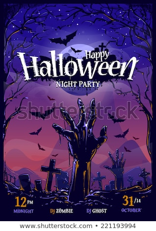 halloween party flyer vector illustration with zombie hands and flying bats on mysterious moon backg stock photo © articular