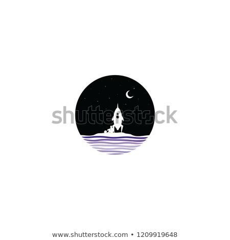 midnight scene space rocket sign symbol Stock photo © vector1st