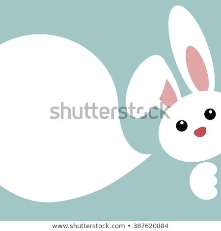 Cartoon lapin de Pâques parler illustration Pâques heureux Photo stock © cthoman