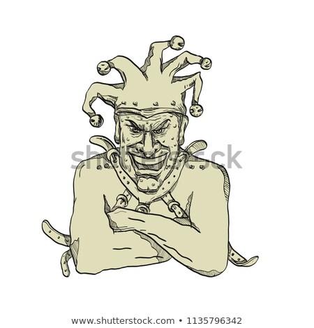 Crazy Court Jester Straitjacket Drawing Stock photo © patrimonio