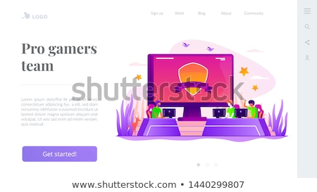 equipo · aterrizaje · página · plantilla · torneo · videojuegos - foto stock © rastudio