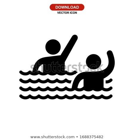 Zomer zwembad mensen iconen handdoek Stockfoto © robuart