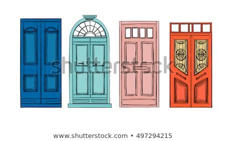 Starych starożytnych przednie drzwi domu weranda drewna Zdjęcia stock © vapi