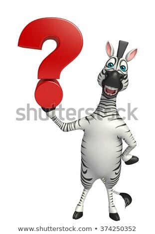 Stock fotó: Rajz · zebra · gondolkodik · illusztráció
