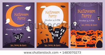Cute ghost, flat design halloween banner, vector illustration Stock photo © Natali_Brill