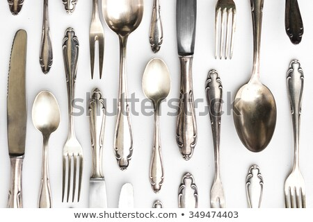 Antique sterling silver knive and fork Stock photo © backyardproductions