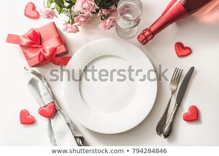 バレンタインデー · ディナー · レストラン · ディナーテーブル · ピンク · グレー - ストックフォト © neirfy