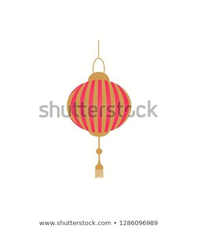 Wiszący latarnia złoty wektora odizolowany Zdjęcia stock © robuart