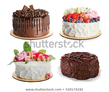 Piece of dark chocolate cake decorated with macaron on white pla Stock photo © dashapetrenko