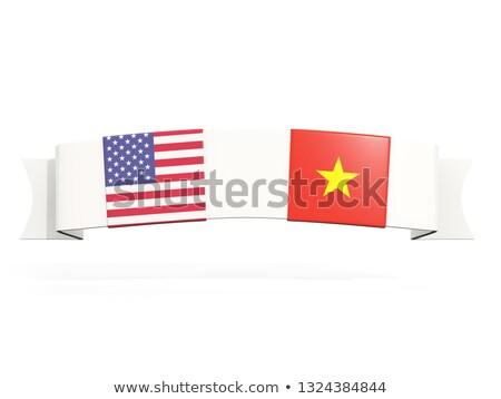 Foto stock: Bandeira · dois · praça · bandeiras · Estados · Unidos · Vietnã
