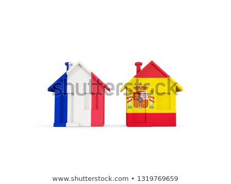 2 住宅 フラグ フランス スペイン 孤立した ストックフォト © MikhailMishchenko