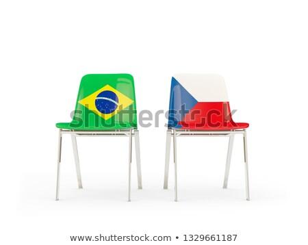 Foto stock: Dois · cadeiras · bandeiras · Brasil · República · Checa · isolado