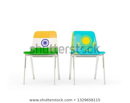 два стульев флагами Индия Казахстан изолированный Сток-фото © MikhailMishchenko