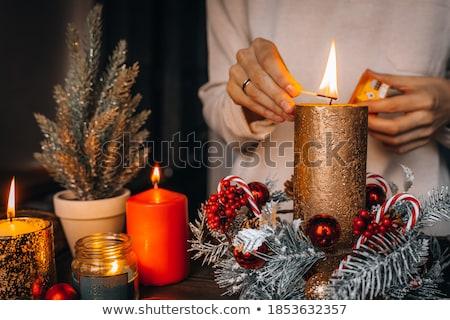 Natal grinalda janela férias decoração Foto stock © dolgachov