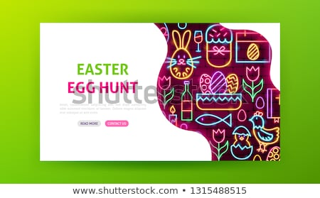happy easter neon landing page stock photo © anna_leni
