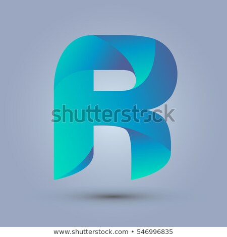 Kék gradiens r betű 3D 3d render illusztráció Stock fotó © djmilic