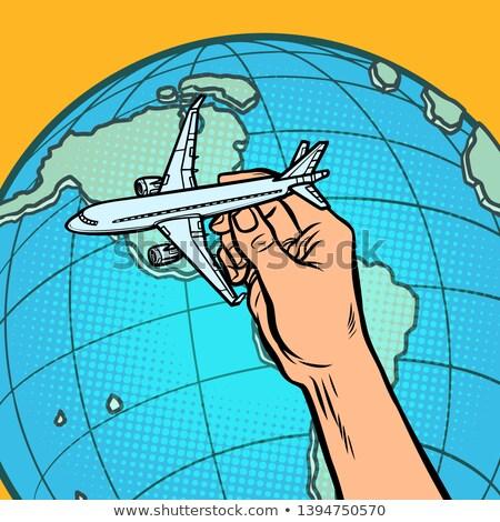 Düzlem el mecaz uçan Amerika komik Stok fotoğraf © rogistok