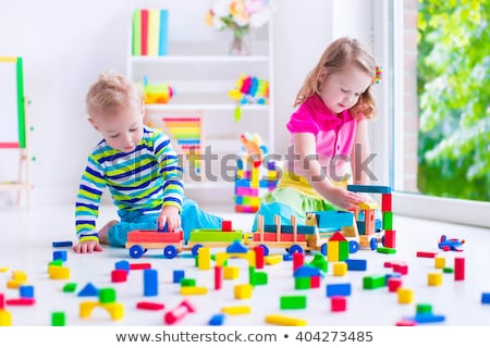 Creative детский сад дети построить башни детей Сток-фото © ElenaBatkova