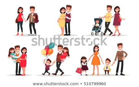 How to Be Happy Family Set with Parents and Kids Stock photo © robuart