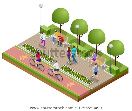 people walking in city park recreation vector stock photo © robuart