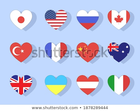 Stock fotó: Collection Of Vector Flags Of Europe In The Form Of Hearts