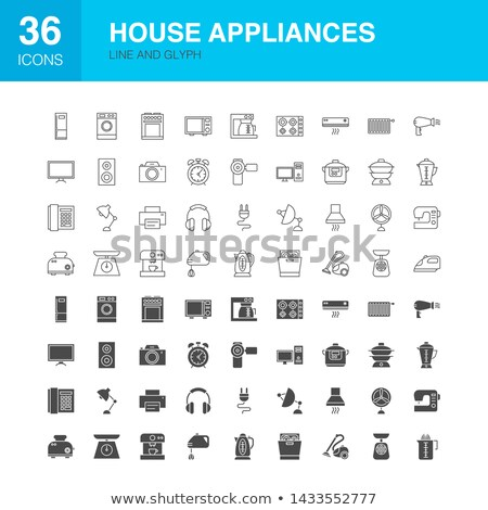 huishouden · solide · web · icons · vector · ingesteld · elektronica - stockfoto © anna_leni