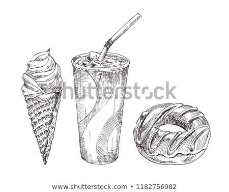 Cola papel copo sobremesa vetor monocromático Foto stock © robuart