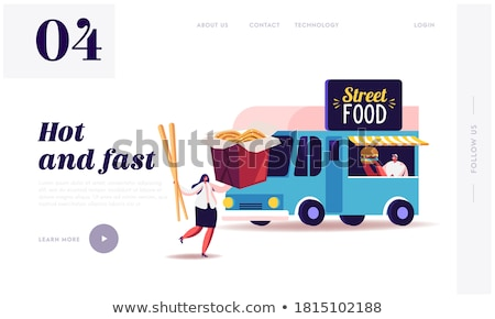 Fastfood Van Car and Cafe, Takeaway food, People Stock photo © robuart