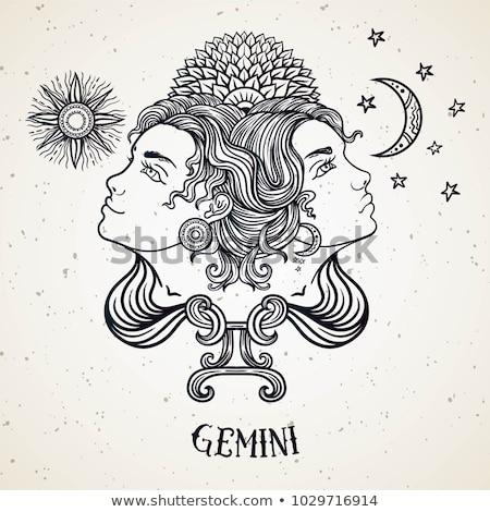 ikrek · horoszkóp · állatöv · felirat · asztrológia · ikon - stock fotó © cidepix